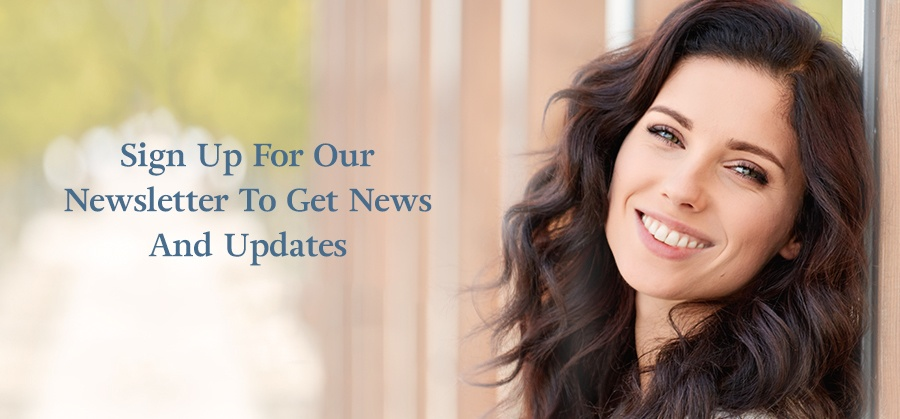 Newsletter Sign Up Banner of Beautiful woman with White Teeth